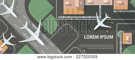 Horizontal Banner With Airplane Taxiing And Preparing For Take Off On Runway, Top View. Passenger Ai