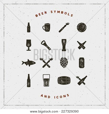 Set Of Beer Symbols And Icons With Letterpress Effect. Hand Drawn Design Elements. Vector Illustrati
