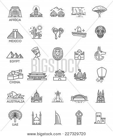 Flat Line Design Style Vector Illustration Icons Set And Logos Of Top Tourist Attractions, Historica