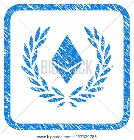 Ethereum Crystal Laureal Wreath Rubber Seal Stamp Watermark. Icon Vector Symbol With Grunge Design A