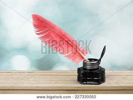 Glass Ink Pen Feather Well Inkwell Quill