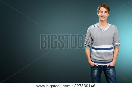 Young Man Grey Sweater Color White Background