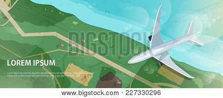 Horizontal Banner With Airplane Flying Above Seashore Or Ocean Coast, Road And Houses, Aerial View.