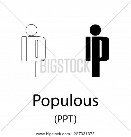 Black Populous Cryptocurrency Symbol Isolated On White Background