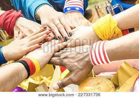 Top Side View Of Multiracial Hands Of Football Supporter Friend Sharing Street Food - Friendship Con