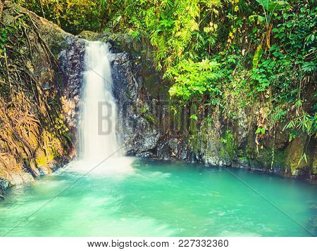 Beautiful Kaeng Nyui Waterfalls. Vang Vieng. Laos landscape.