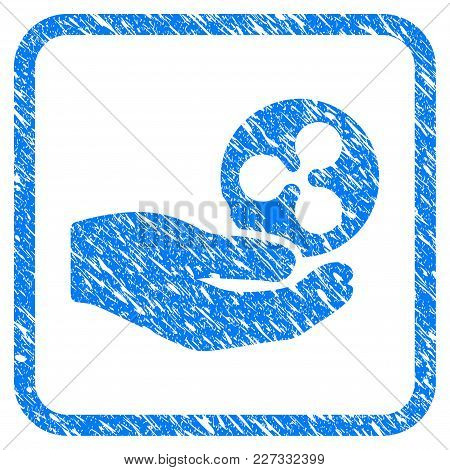 Hand Give Ripple Rubber Seal Stamp Imitation. Icon Vector Symbol With Grunge Design And Unclean Text