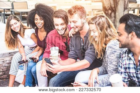Multiracial Friends Group Using Smartphone At University College - Young People Addicted By Mobile S