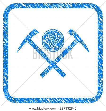 Iota Coin Mining Hammers Rubber Seal Stamp Imitation. Icon Vector Symbol With Grunge Design And Uncl