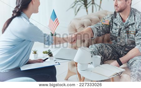 Thank You. Grateful Millennial Soldier Thanking A Female Psychotherapist For Helping Him With His Po