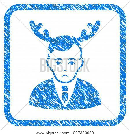 Horned Husband Rubber Seal Stamp Imitation. Icon Vector Symbol With Grunge Design And Dirty Texture