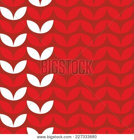 Tile Knitting Red And White Vector Pattern Or Winter Background