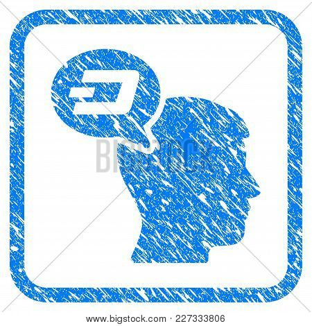 Dash Thinking Balloon Rubber Seal Stamp Watermark. Icon Vector Symbol With Grunge Design And Unclean