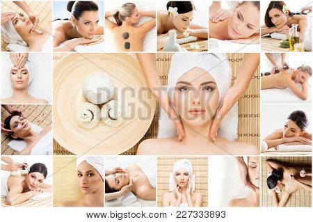 Traditional Massage And Healthcare Treatment In Spa. Young, Beautiful And Healthy Girls Having Recre