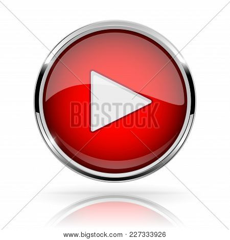 Red Round Media Button. Play Button. Shiny Icon With Chrome Frame And With Reflection. Vector 3d Ill
