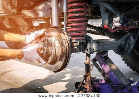 The Front Wheel Of The Car Was Removed To Repair The Brake System, Automotive Industry And Garage Co
