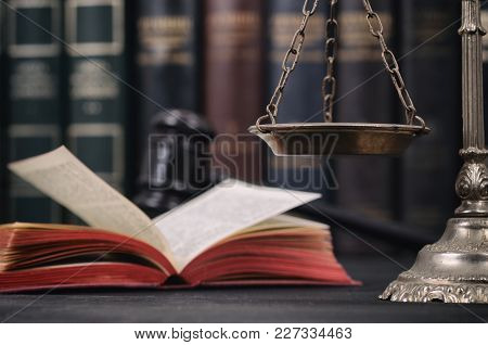 Law And Justice, Legality Concept, Scales Of Justice , Law Book And Judge Gavel On A Black Wooden Ba