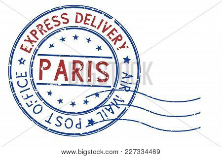 Round Blue And Red Postmark Paris, France. Vector Illustration Isolated On White Background