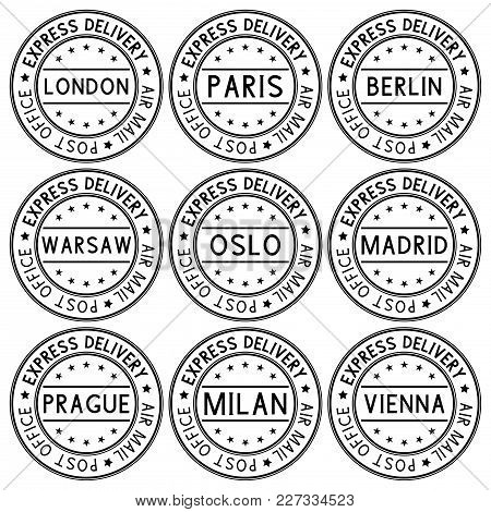 Postmark Express Delivery With European Cities Names. Black Collection. Vector Illustration Isolated