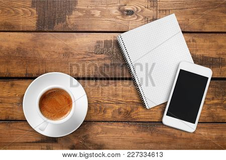 Cup Coffee Phone Smart Notebook Smartphone Table