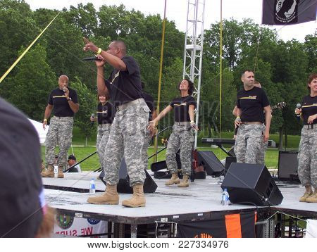 The United States Army Downrange Performing In Front Of The Lincoln Memorial, Over Memorial Day Week