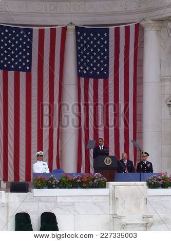 President Barak Obama Speaking At The Tomb Of The Unknown Solder Memorial Amphitheater At Arlington