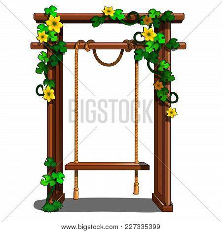 A Swing In The Garden. Vector Illustration.