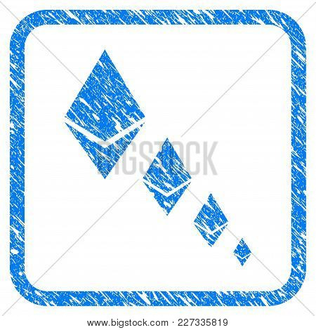 Ethereum Crystal Defaltion Rubber Seal Stamp Imitation. Icon Vector Symbol With Grunge Design And Co