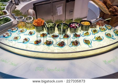 Salad canape, appetizer in buffet line
