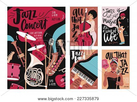 Set Of Poster, Flyer Or Invitation Templates For Instrumental Jazz Music Festival, Event Or Concert