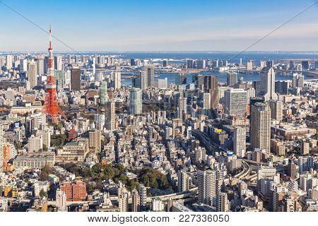 Tokyo Tower with skyline in Tokyo Japan