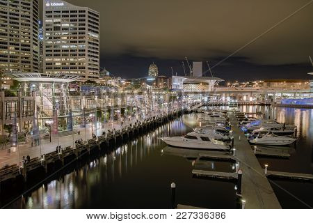 Sydney, Australia - Circa September 2016: Night Scene At The Famous Darling Harbour, The Bustling To
