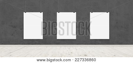 Tree White Blank Posters With Binders In Interior With Concrete Wall And Wooden Floor