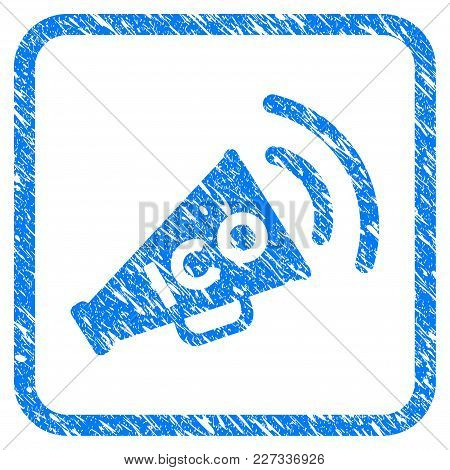 Ico News Megaphone Rubber Seal Stamp Imitation. Icon Vector Symbol With Grunge Design And Dirty Text