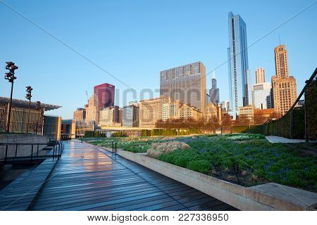 Chicago, Illinois, United States - May 06, 2011: The Lurie Garden At Millennium Park And Michigan Av