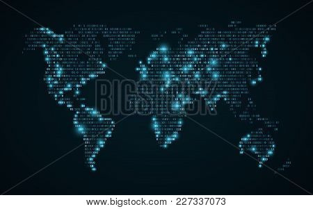 Abstract World Map Of Binary Code. Glowing Map Of The Earth. Dark Blue Background. Blue Lights. High