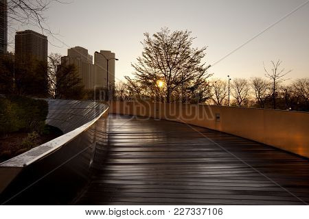 Chicago, Illinois, United States - May 06, 2011: Bp Pedestrian Bridge Designed By Frank Gehry At Mil