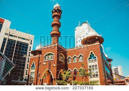 Kuala Lumpur Cityscape. Religious And Modern Architecture. Travel To Malaysia. Mosque Masjid India.