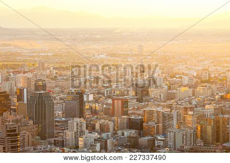 Elevated View Of Downtown Santiago De Chile