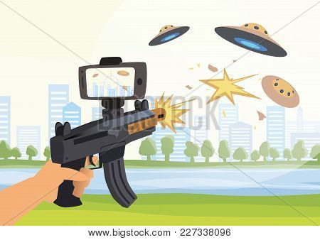 Augmented Reality Games. Boy With Ar Gun Playing A Shooter. Game Weapon With Smartphone. Vector Illu