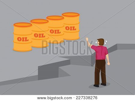 Cartoon Man Separated From Barrels Of Oil By Large Crack In Ground. Creative Conceptual Vector Illus