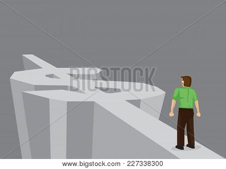 Cartoon Standing On Road On Dollar Sign. Creative Vector Illustration On Road To Wealth Concept.
