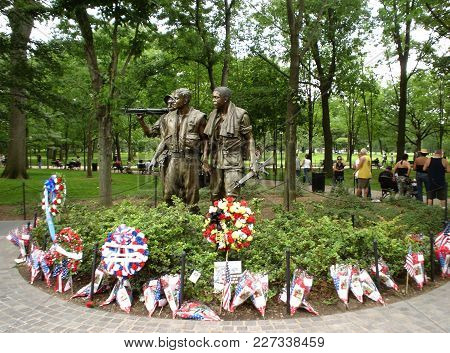 The Three Solders Statue, Vietnam Memorial With Wreaths And Flowers, Washington, D.c. Memorial Day W