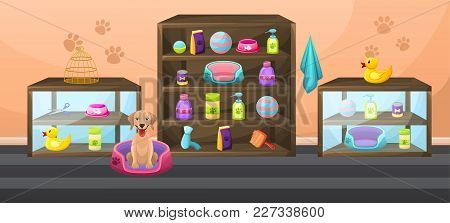 Accessories For Animals Care, Food, Cage, Etc. Pet Store Interior With Shelves, Cabinets And Items.
