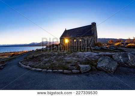 Church Of The Good Shepherd By Lake Tekapo During Cold And Clear Winter Sunrise In Tekapo, South Isl