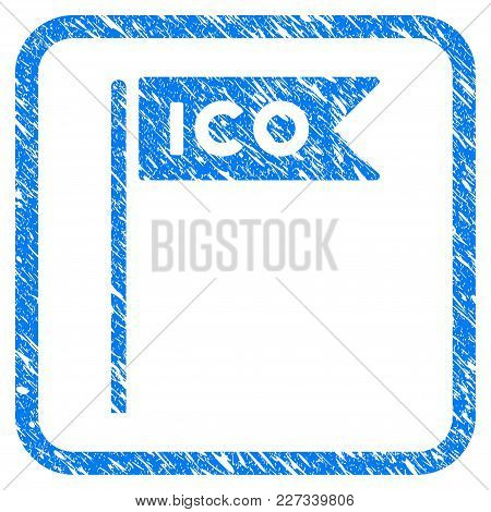 Ico Flag Rubber Seal Stamp Watermark. Icon Vector Symbol With Grunge Design And Dust Texture Inside