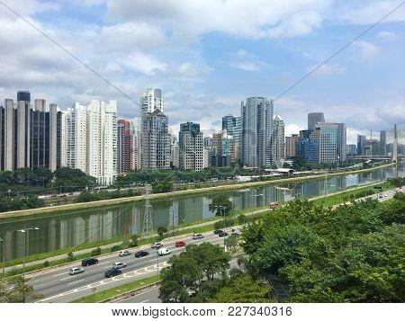 Skyline Of The Marginal Pinheiros Region In Sao Paulo, Brazil
