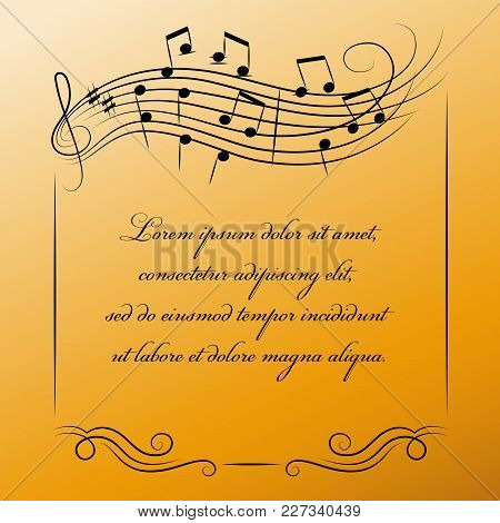 Musical Frame With Place For Text On Golden Background.  Poster Or Banner For Classical Music. Desig