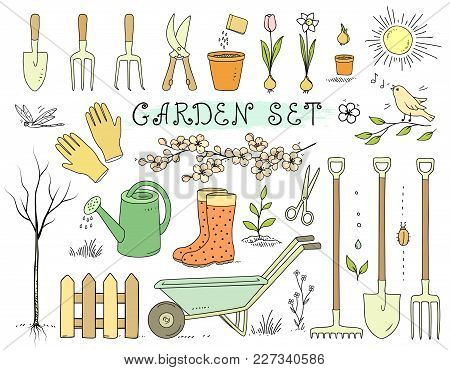Colorful Hand Drawn Spring Garden Set With Isolated Tools On White Background