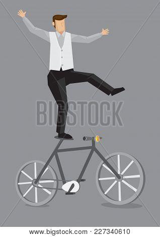 Cartoon Man Balancing With One Leg On The Saddle Of Bicycle. Vector Illustration On Plain Grey Backg